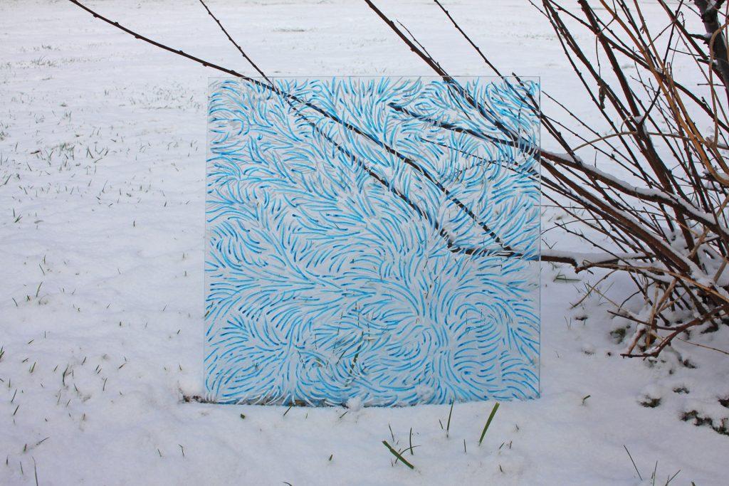 Szkło zima I 2017, akryl na szkle 40x40cm