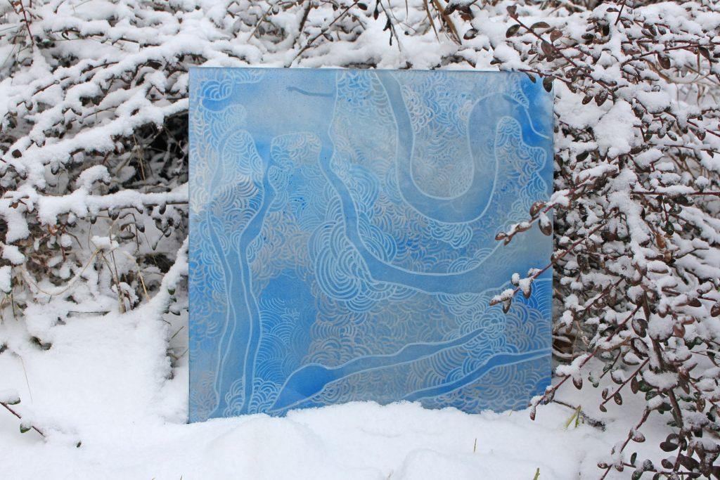 Szkło zima II 2017, akryl na szkle 40x40cm