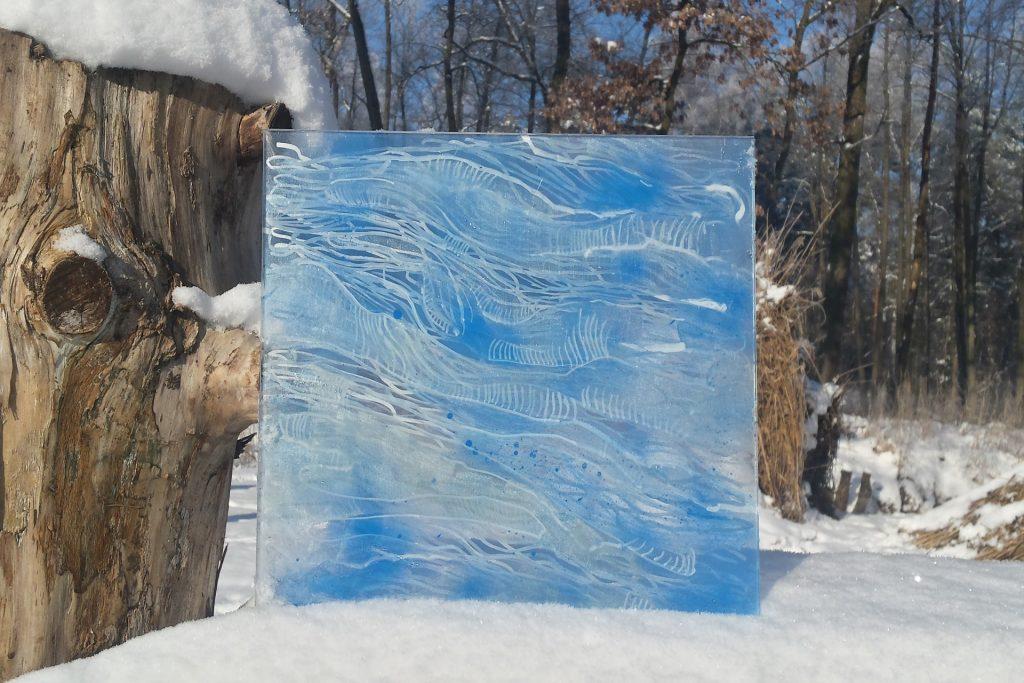 Szkło zima III 2017, akryl na szkle 40x40cm