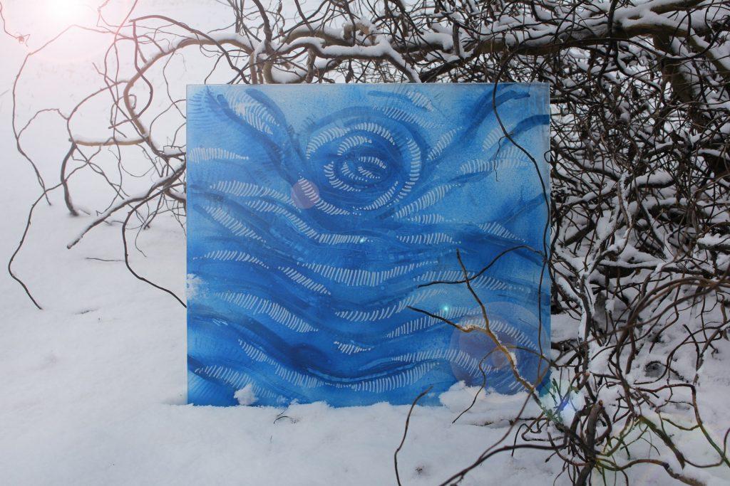 Szkło zima IV 2017, akryl na szkle 40x40cm